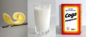 Молоко, масло, сода