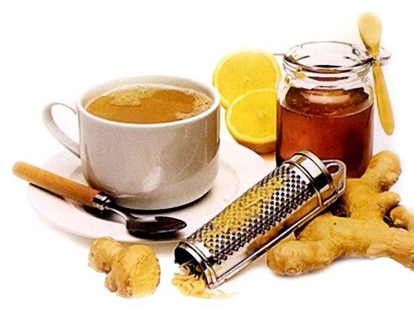 Мед, имбирь, чай с шалфеем